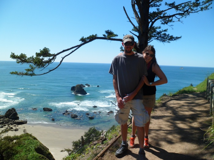 Overlooking the Pacific from the cliff face