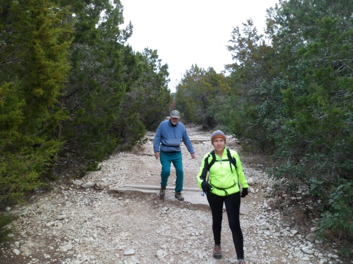 Mom and Dad descending to the creek bed