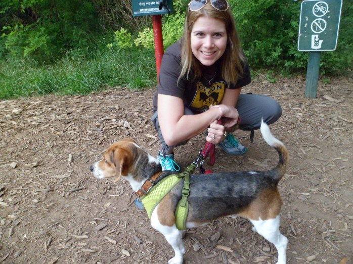Trail head and Biff's harness leash