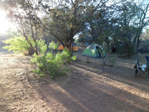 morning sun hitting the campsite