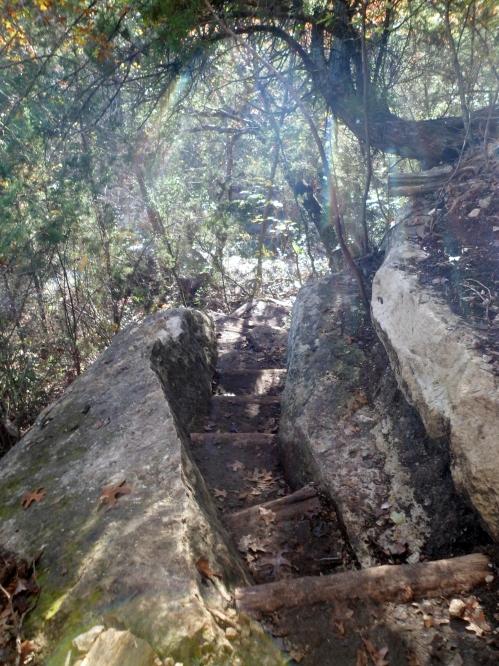 trail cut through the rock