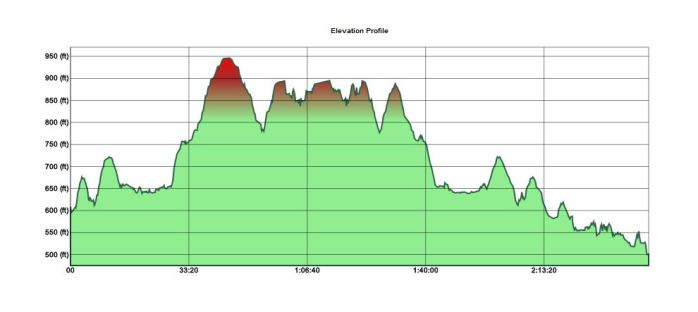 partial elevation profile (forgot to start the GPS until a mile in)