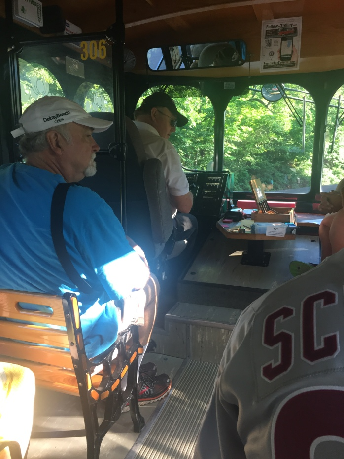 My dad on the trolley to downtown Cooperstown