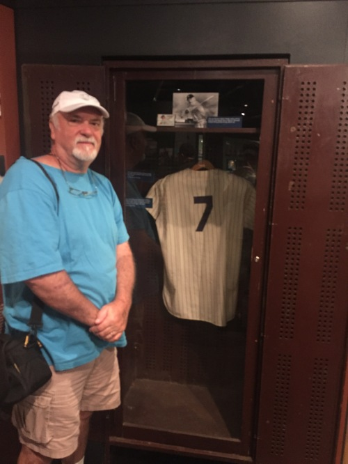 Dad with Mickey Mantle's locker - his favorite player