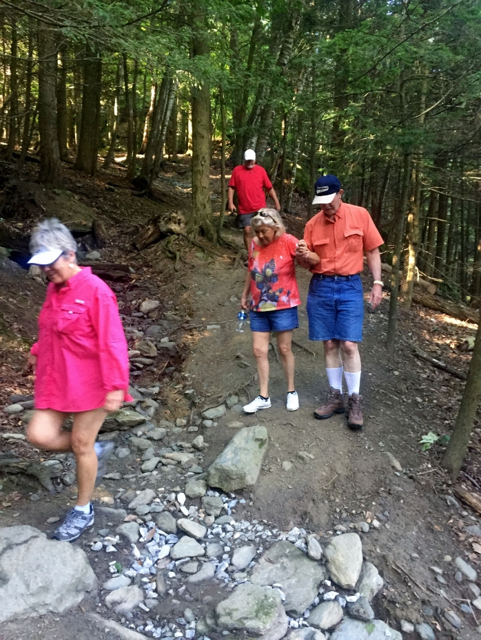 The full crew coming down the trail