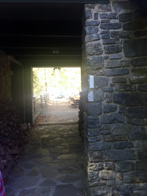 The trail goes through the building